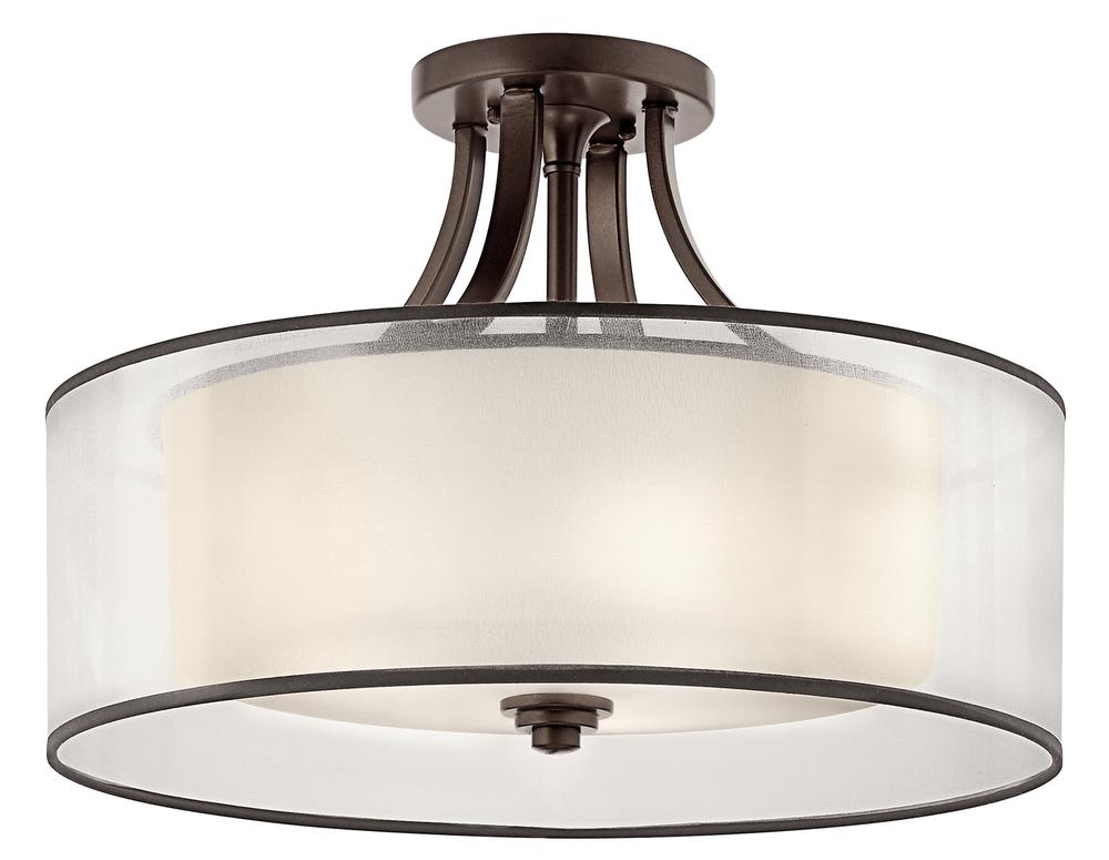 four light mission bronze drum shade semi flush mount lcm0t. Black Bedroom Furniture Sets. Home Design Ideas
