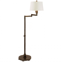Visual Comfort CHA 9106BZ-L - Chunky Swing Arm Floor Lamp in Bronze with Linen