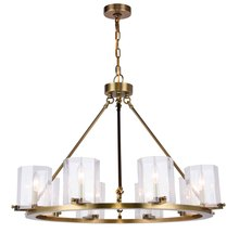 Elegant 1524D32BB - 1524 Monterey Collection Chandelier D:32.5in H:24in Lt:8 Burnished Brass Finish
